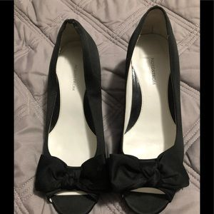 Girls cute black satin dress shoes